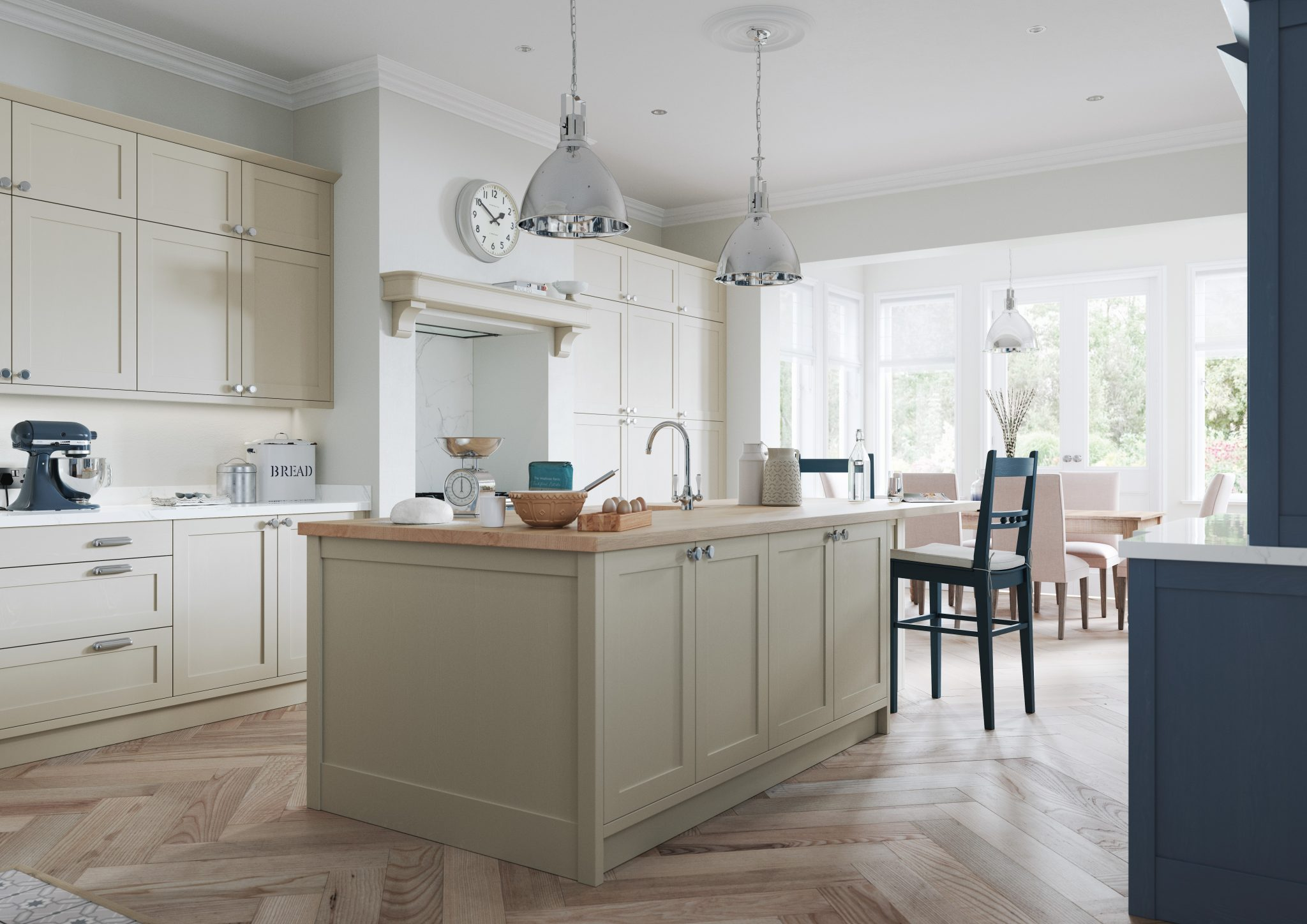 Shaker style kitchen with narrow door painted in airforce blue and stone with kitchen island, kitchens france