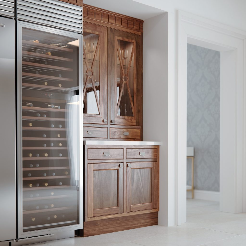 Traditional Kitchen with tall wine cooler kitchens installed by kitchens france in cannes | cuisines Cannes 06