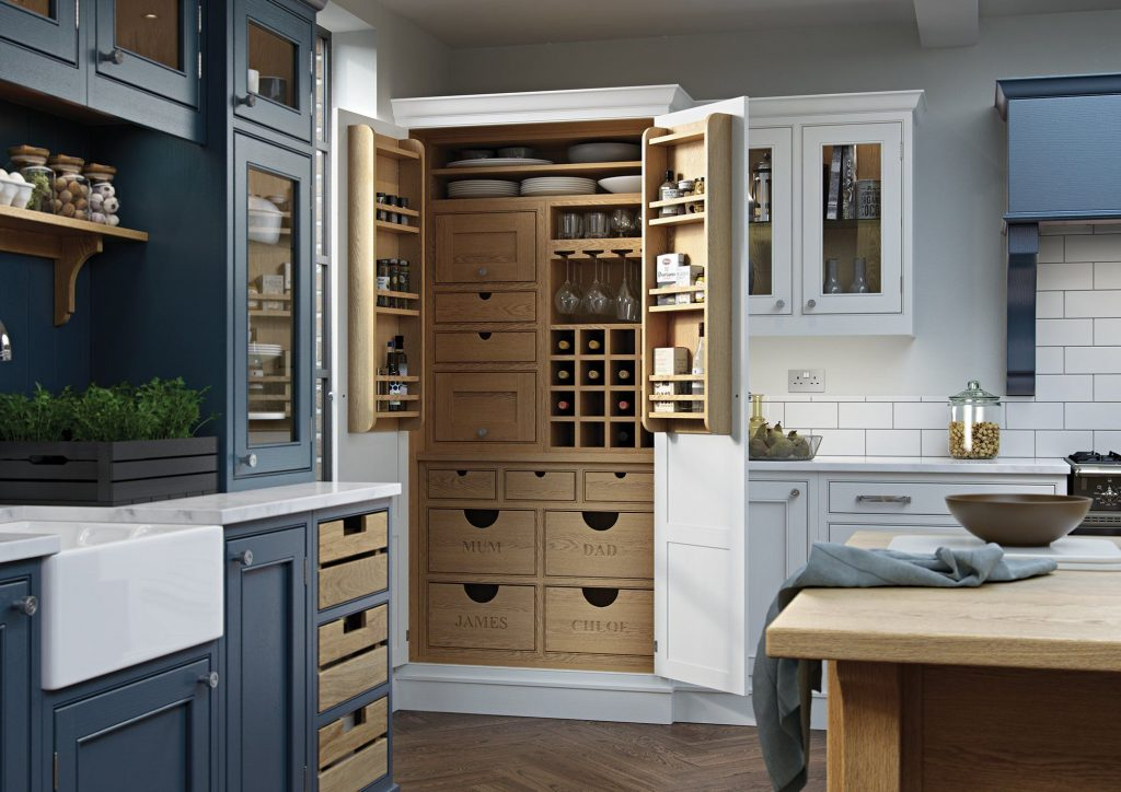 Bespoke personalized named engraved wooden drawers in tall kitchen wooden dresser | Kitchens France | bespoke kitchen furniture shop valbonne
