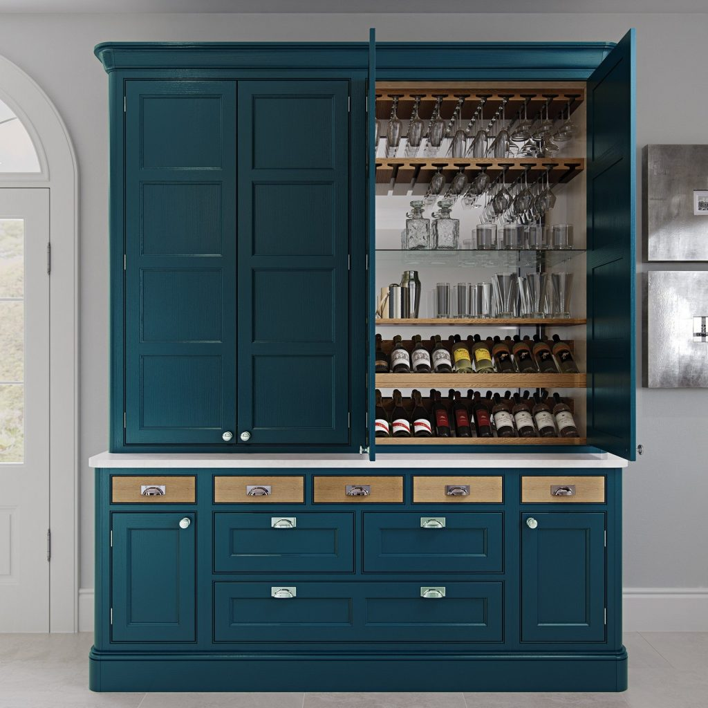 Traditional bespoke made kitchen dresser with dry bar in marine | Kitchens France Riviera | bespoke kitchen furniture saint tropez