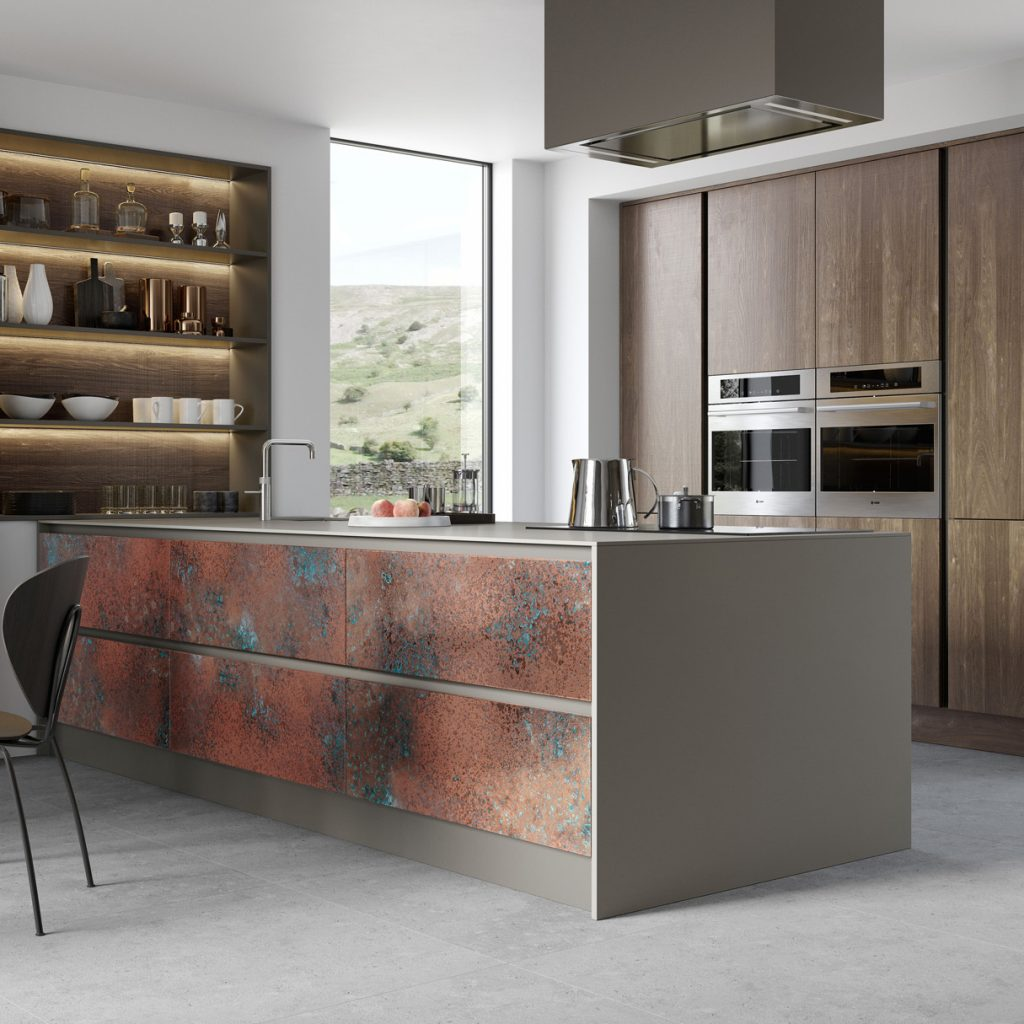 contemporary kitchen in bespoke oxidised copper and espresso oak in the tall housings with contemporary extractor, built in integrated ovens,