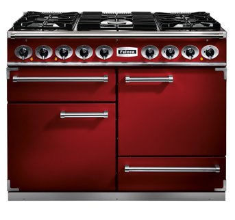 cherry red Falcon Rangecooker supplier Kitchens France