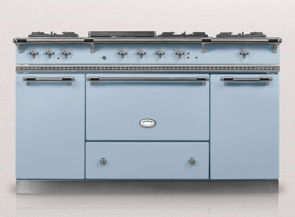 large lacanche in blue supplied by kitchens france riviera