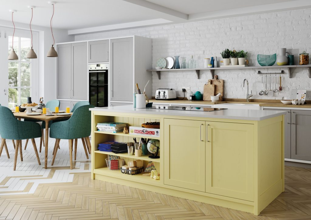 pale yellow and light grey kitchen with open shelving, kitchens france