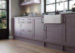deep heather kitchen with belfast sink