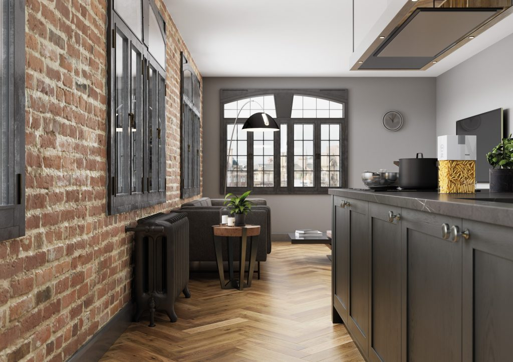 exposed brick kitchen with graphite grey cabinets