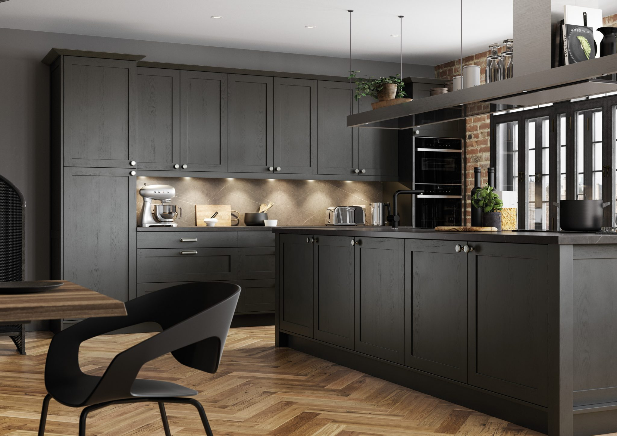 modern bold wooden kitchen in dark graphite grey with kitchen island