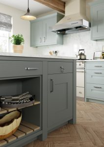 light blue and grey solid shaker kitchen, quartz worktop, kitchen france