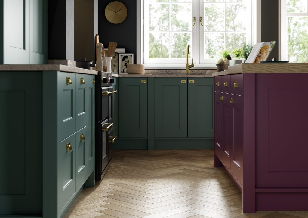 deep heather and green kitchen with shaker style doors by kitchens in france