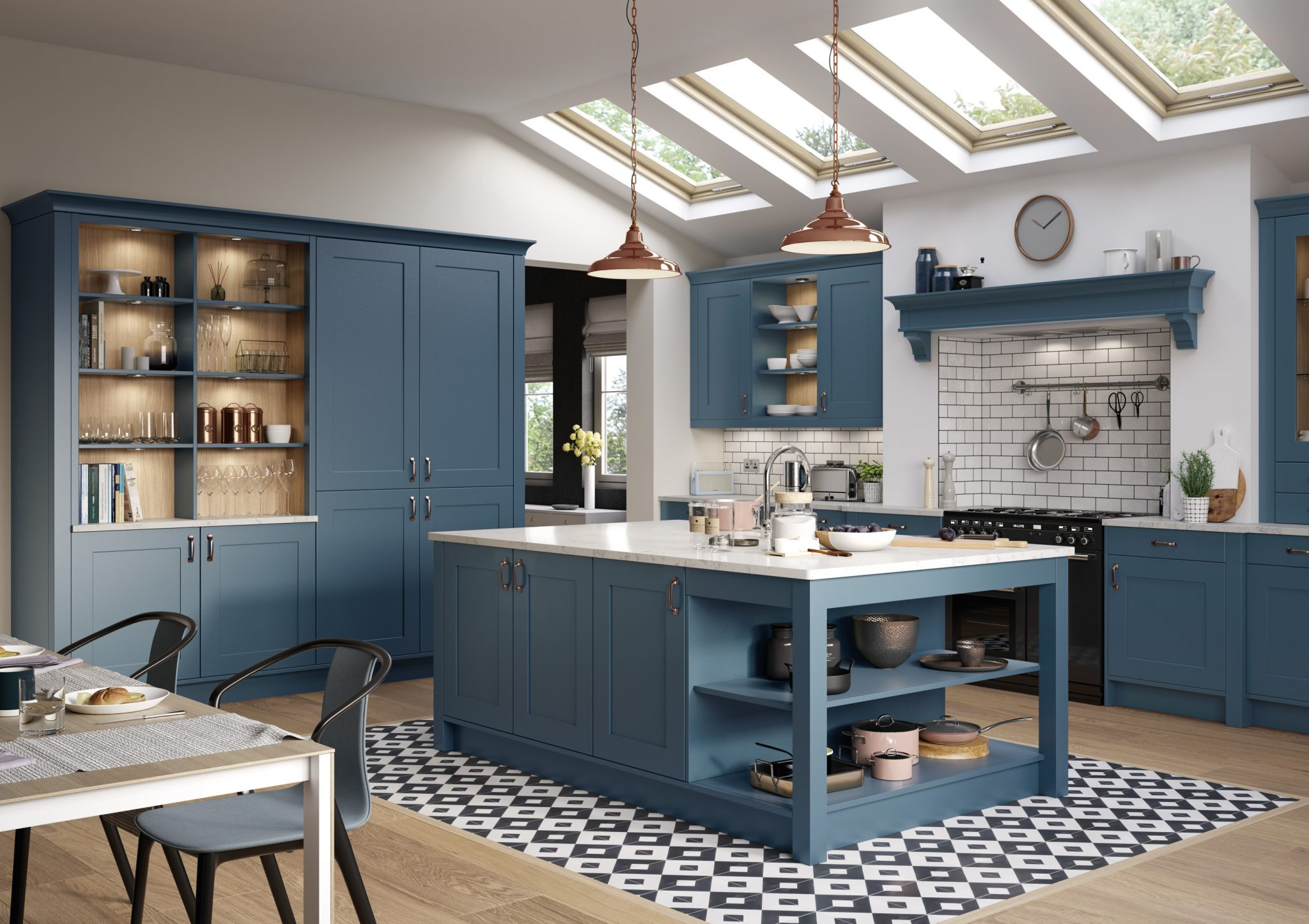 shaker style kitchen in bold blue, painted kitchen in france with island
