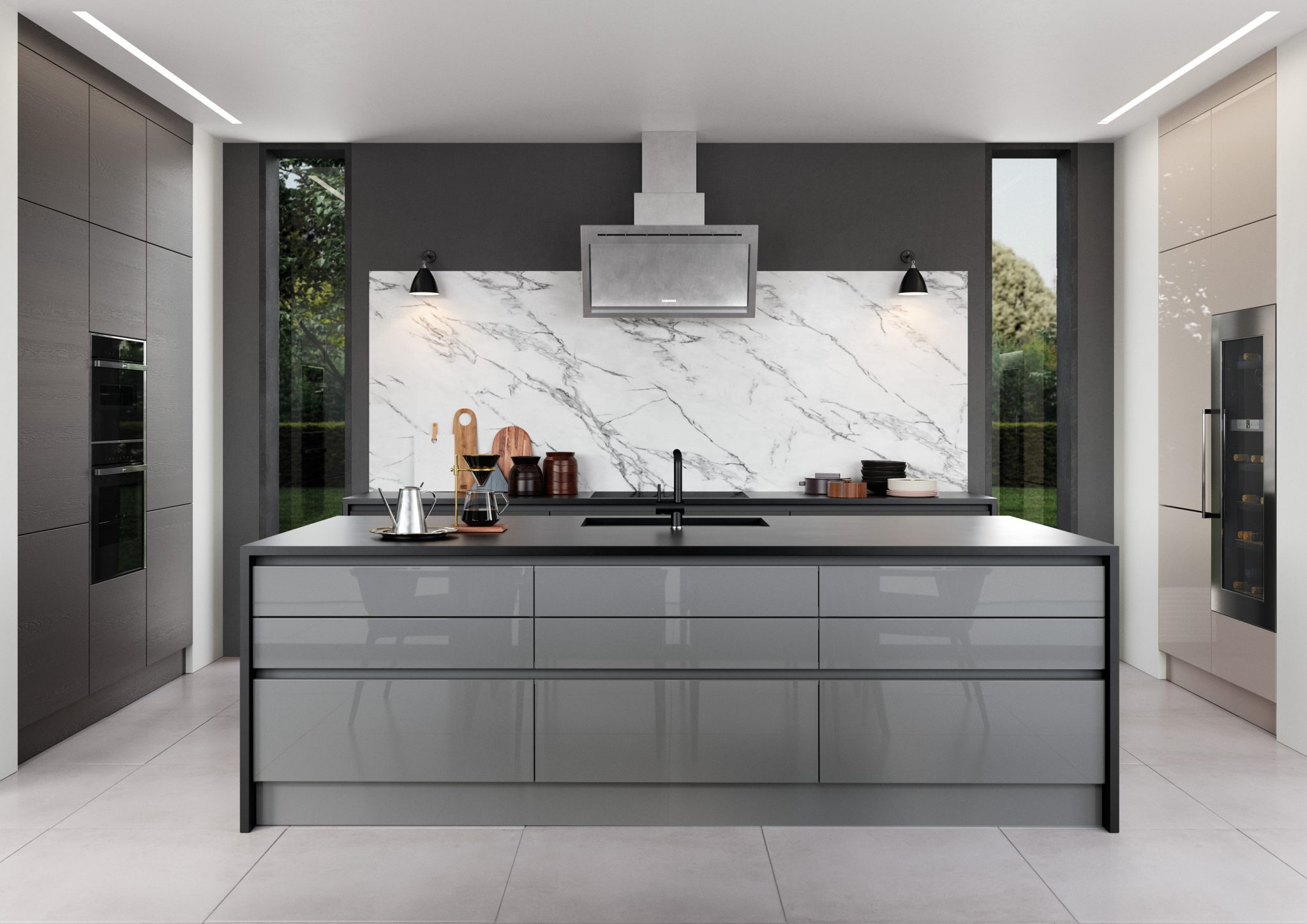 modern kitchen in grey with silestone marengo quartz worktop, handleless kitchens france, modern extractor fan, silestone splashback