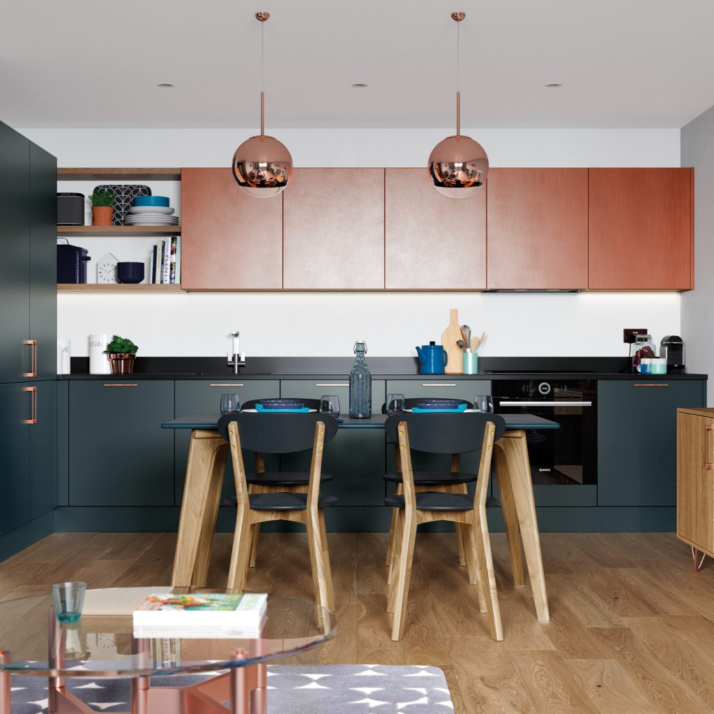 contemporary yet retro kitchen with painted copper wall units and marine base cabinets, copper pendant lights, kitchens france riviera