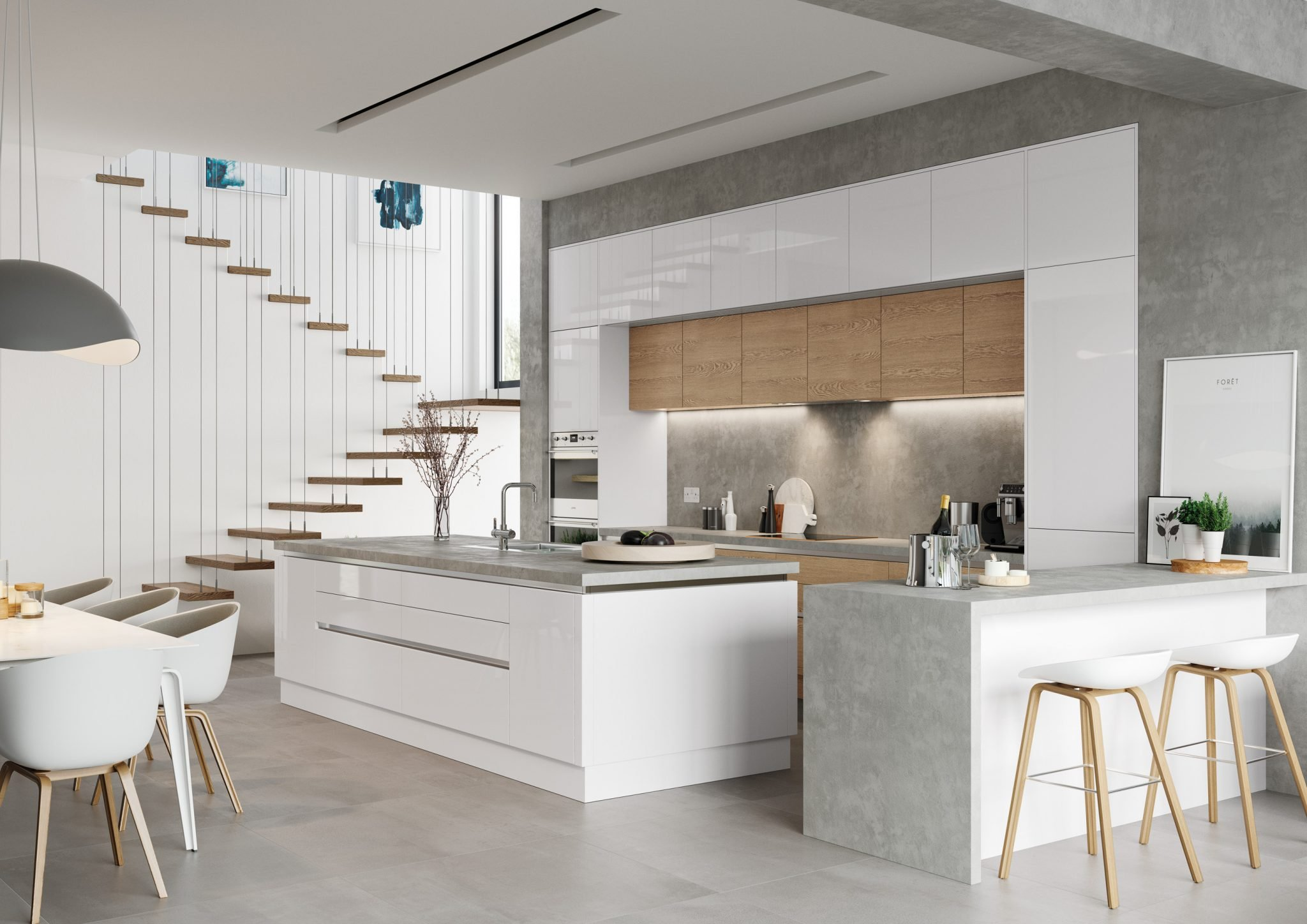 large contemporary kitchen in white and oak with kitchen island and custom made concrete worktop