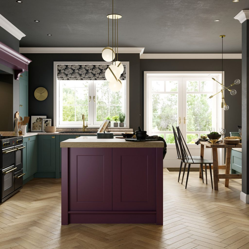 colourful painted shaker style kitchen france