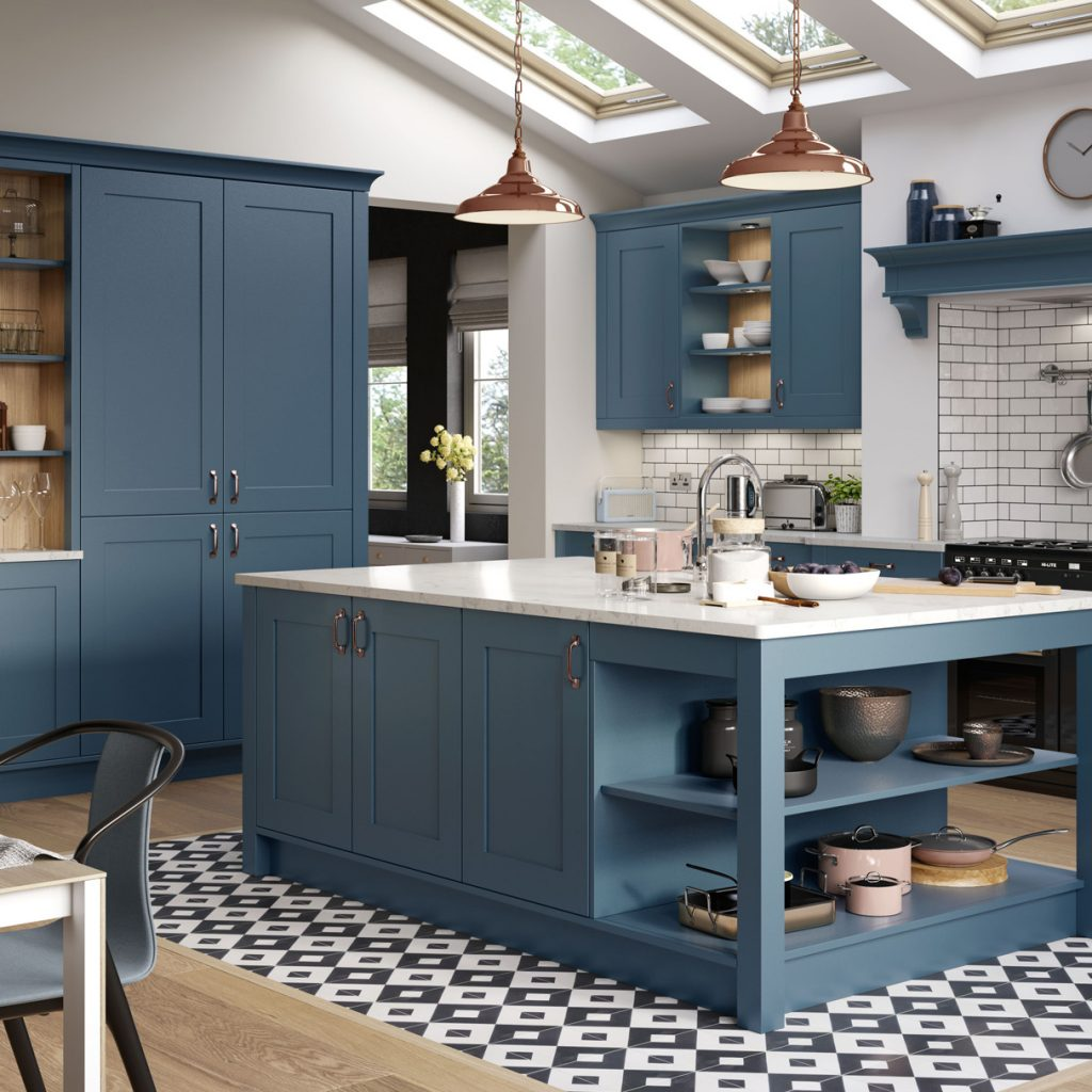 shaker style kitchen in airforce blue kitchens france