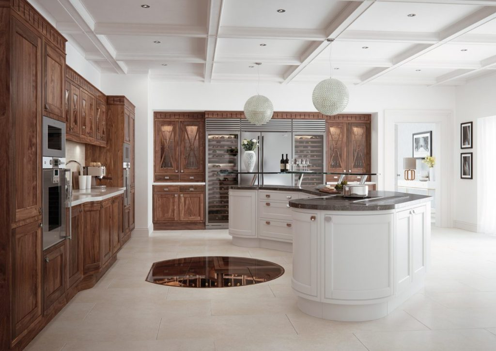 Traditional Painted and Walnut Kitchen France Cuisines Cannes en bois