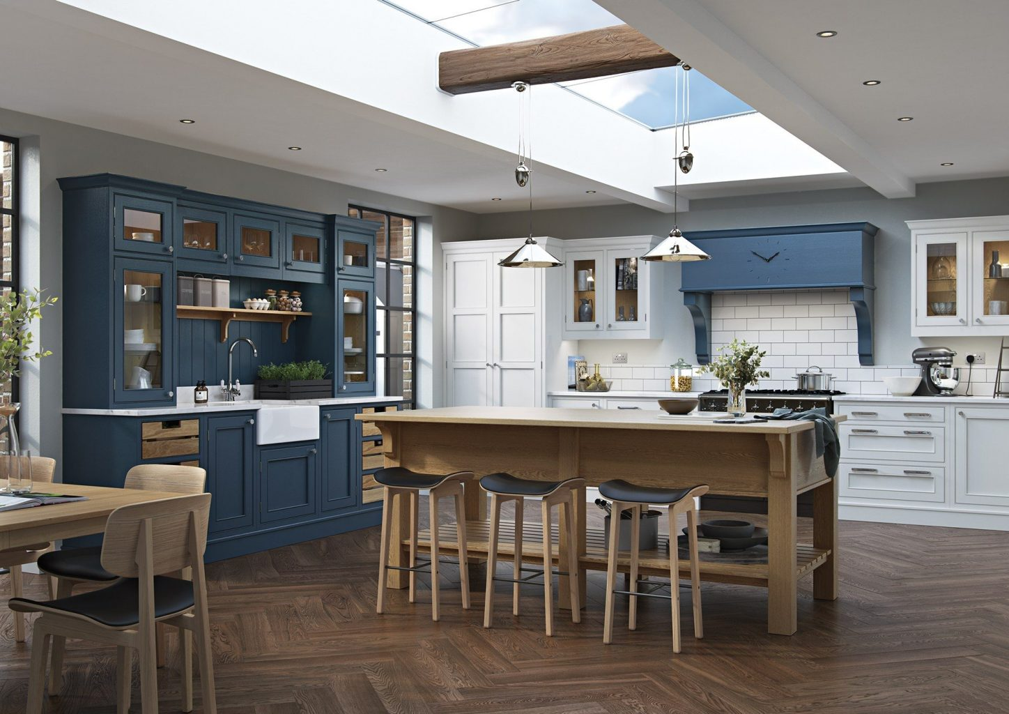 design best Kitchen Cannes, blue and timber kitchen in Cannes, kitchen project Cannes