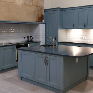 French Oak Painted Teal Kitchen